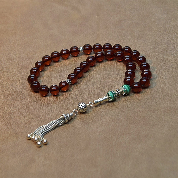 New 100% Natural Amber stone Maroon 9mm+ Beads Muslim Taisbyha Rosary 925 Silver Accessories Free Shipping
