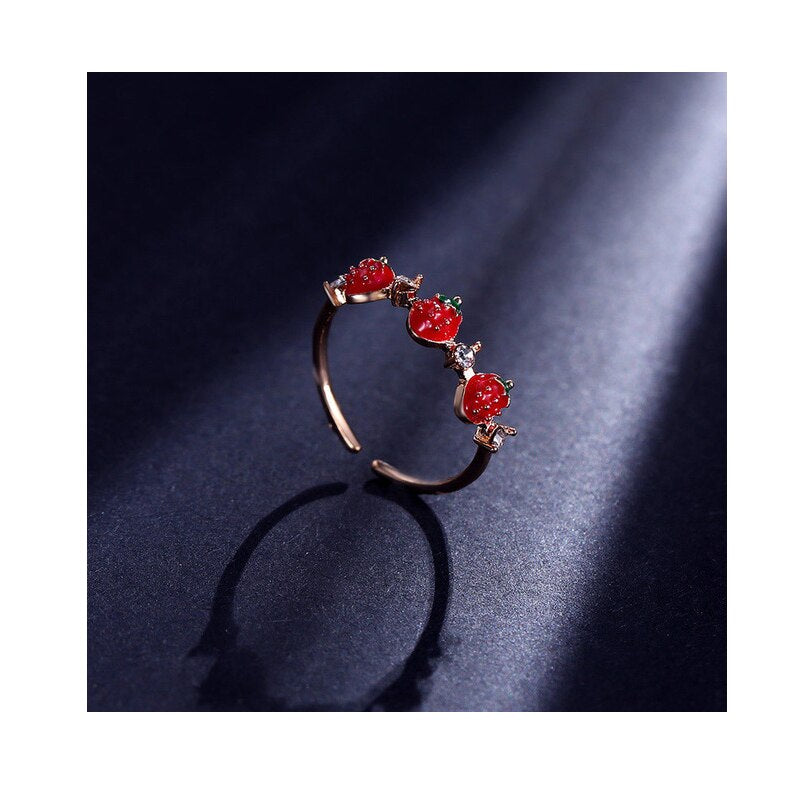 ONEVAN Rhinestones Sweet Fruit Red Strawberry Open Adjustable Finger Rings For Women Girls Party Gifts