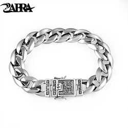 ZABRA Real 925 Silver Men's Bracelet 12mm Wide Smooth Flower Safe Lock High Polish Link Chain Male Biker Silver Bracelet