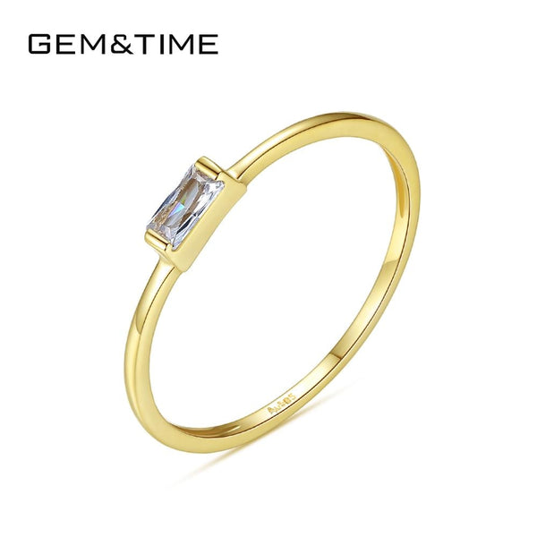 Gem&Time Luxury Real Gold 585 Jewelry 14K Yellow Gold Rings for Women Wedding Engagement Fine Jewelry Femme Bague Gifts R14146
