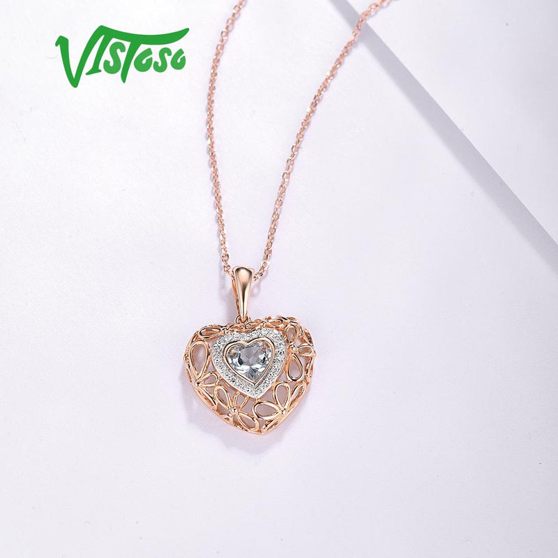 VISTOSO Gold Pendant For Women Genuine 14K 585 Rose Gold Radiant Sky Blue Topaz Sparkling Diamond Pendant Delicate Fine Jewelry