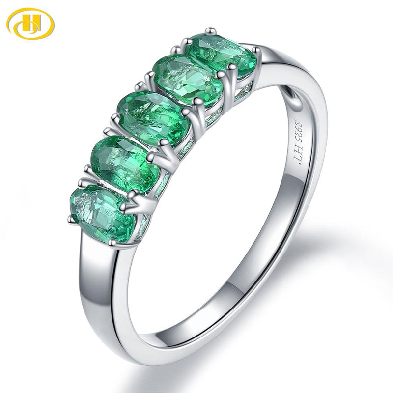 Hutang Precious Emerald Women's Crown Ring 925 Sterling Silver 1.06ct Natural Gemstone Engagement Rings Fine Elegant Jewelry