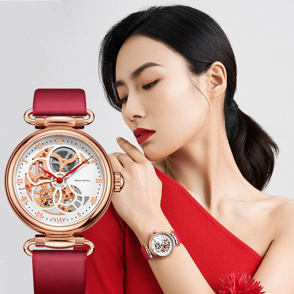 seagull Ladies automatic mechanical watch Fashionable female watch Thin and light Ladies mechanical watch Time goddess 6002L