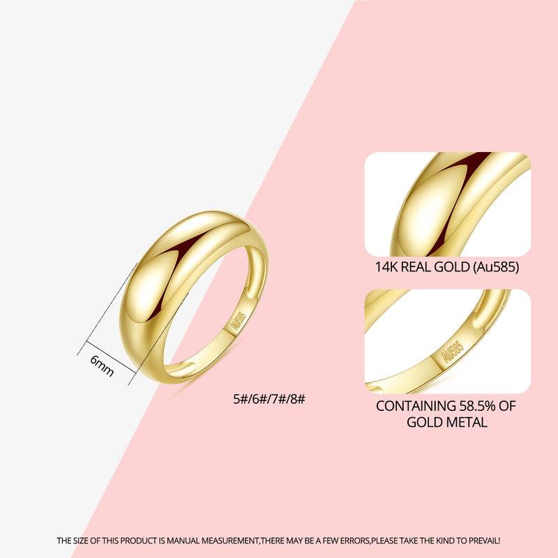 CZCITY Simple Classic Real 14K Gold Engagement Rings for Women Bridal Wedding Yellow Gold Au585 Kolye Fine Jewelry Gifts R14158