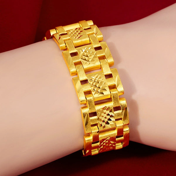 18K Gold Filled Forever Not Fade Bracelet Jewelry for Men Fine Pulseras Ley Mujer Pulseira Feminina Bizuteria Gemstone Bracelet