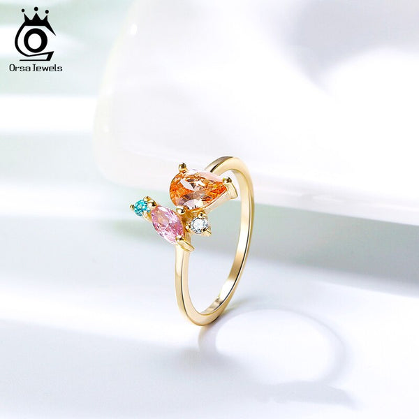 ORSA JEWELS 925 Sterling Silver Multi-colored Stone Finger Rings for Women 18K Gold Plated Various Shapes Zircon Jewelry SR206