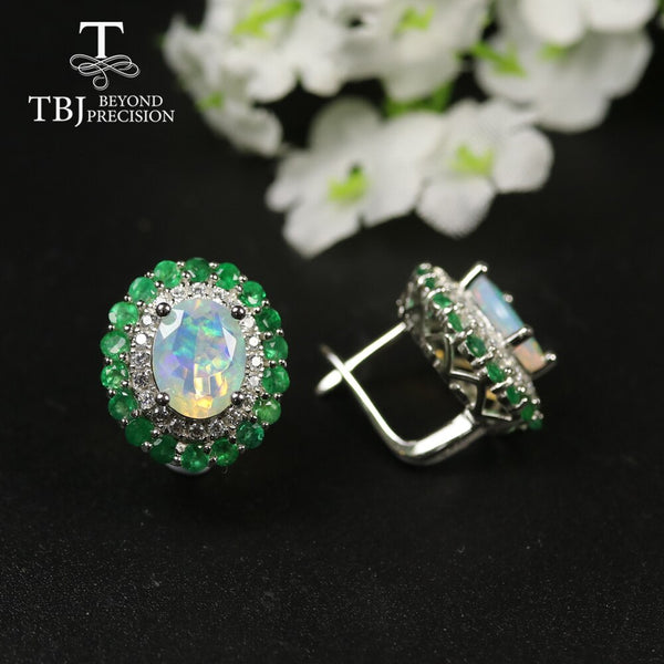2020 new natural emerald opal clasp earring 925 sterling silver fine jewelry for women best gift precious gemstone jewelry tbj