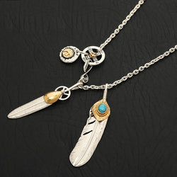 925 Sterling Silver Jewelry Takahashi Goro Feather Retro Long Chain Blue Turquoise Pendant For Men And Women Necklace