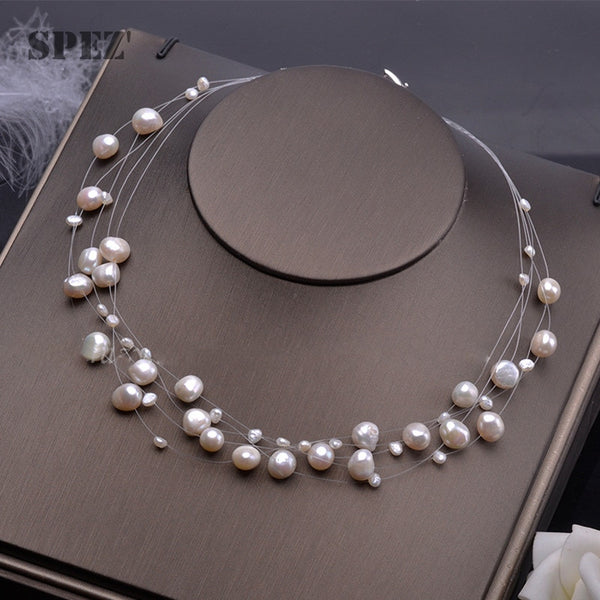 Natural freshwater pearl necklace for women Baroque Pearls 4-8mm 5 Rows Bohemia Handmade Jewelry Fashion spez