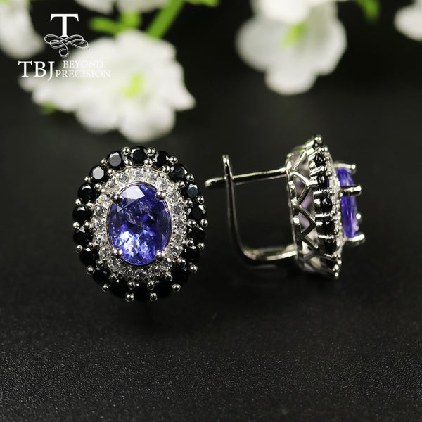 tbj 4ct Nautral Blue Tanzanite Clasp earring 925 sterling silver fine jewelry oval 7*9mm dianna earring for women christmas gift