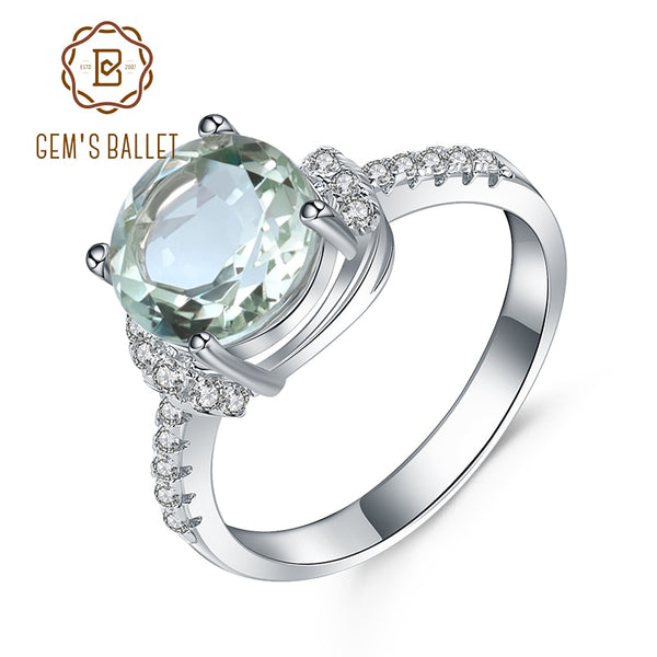 Gem's Ballet 2.73Ct Natural Green Amethyst Gemstone Ring Wedding Brand 925 Sterling Silver Finger Rings For Women Valentine Gift