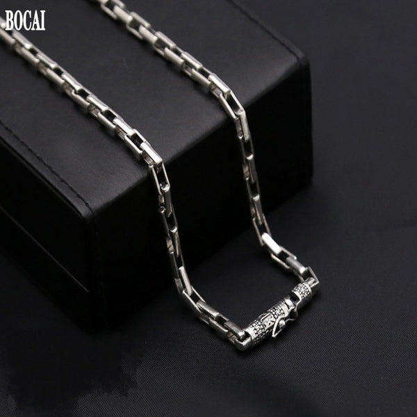 100% new Thai silver S925 pure silver necklace for man big Ming curse vintage 925 silver men's box chain rough silver necklace