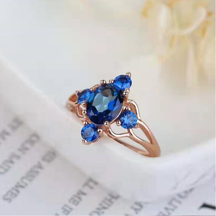 925 silver 6x8mm natural tanzan blue topaz ring