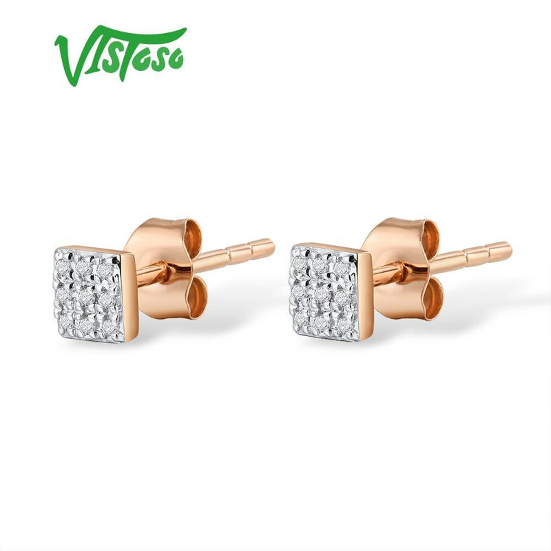 VISTOSO Gold Earrings For Women 14K 585 Rose White Gold Sparkling Diamond Dainty Round Cirle Stud Earrings Trendy Fine Jewelry