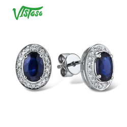 VISTOSO Pure 14K 585 Rose/White Gold Earrings Stud For Women Elegant Blue Sapphire Sparkling Diamond Unique Trendy Fine Jewelry