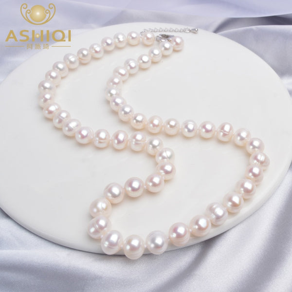 ASHIQI Natural Freshwater Pearl Necklace Near Round Pearl Jewelry for Women Wedding Gifts for The New Year 2020 Trend