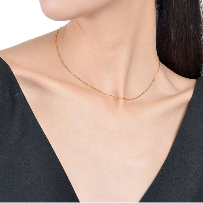 Genuine 18K Gold Necklace 45cm AU750 Pure Gold Pendant Chain For Women Exquisite Fine Jewlery High Quality Brand XF800