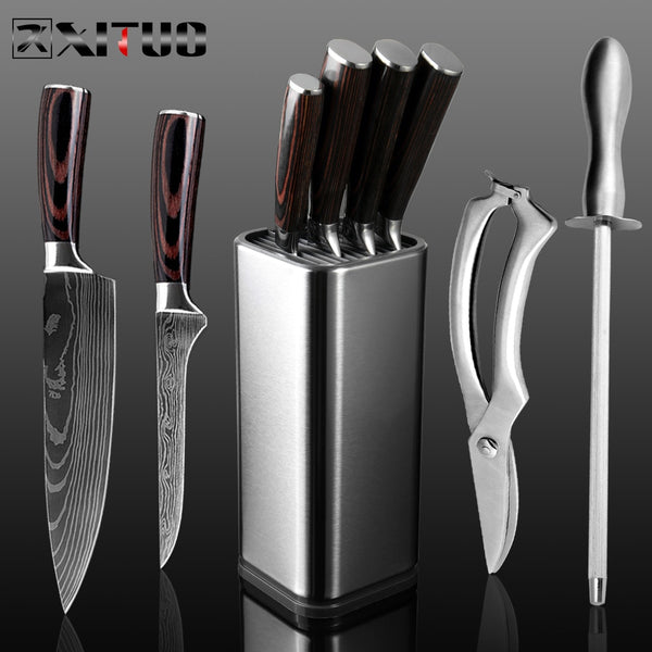 XITUO Chef Set Knife Stainless Steel Knife Professional Japanese Knife Santoku Cleaver Bread Paring Knife Scissors Kitchen Tools