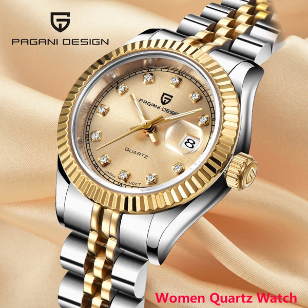 2020 New PAGANI DESIGN Quartz women's watches fashion gold wristwatch ladies dress top luxury brand steel clock women waterproof