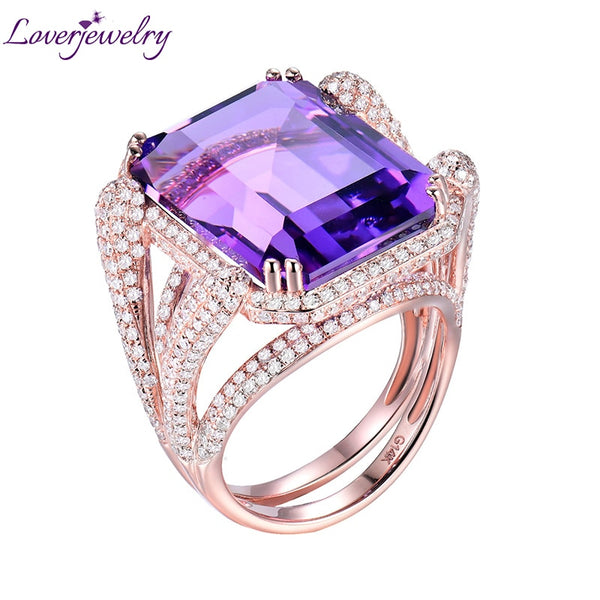 Natural Amethyst Rings For Women Elegant Ladies Emerald Cut 15x20mm Amethyst Diamonds Engagement Party Ring Real 14Kt Rose Gold