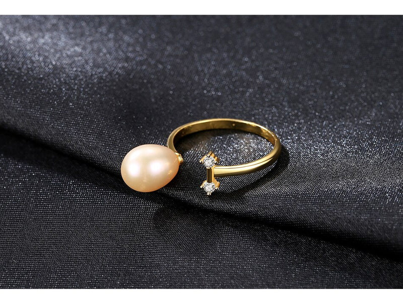 S925 sterling silver women's wild open natural pearl ring