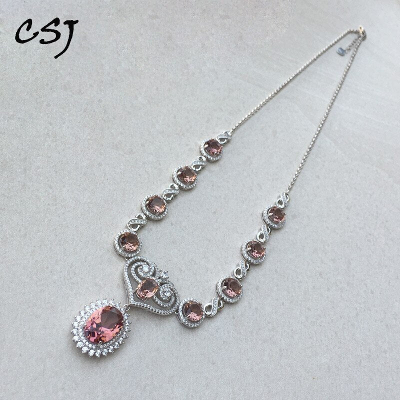 CSJ Luxury Elegant Zultanite Necklace Sterling 925 Silver Created Sultanite Pendant Color Change Fine Jewelry For Women