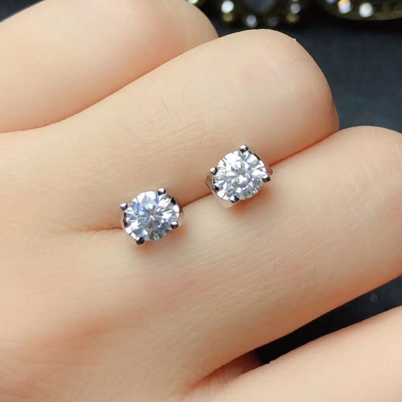 CoLife Jewelry 100% Real Moissanite Stud Earrings for Wedding 925 Silver Moissanite Earrings Silver Moissanite Jewelry