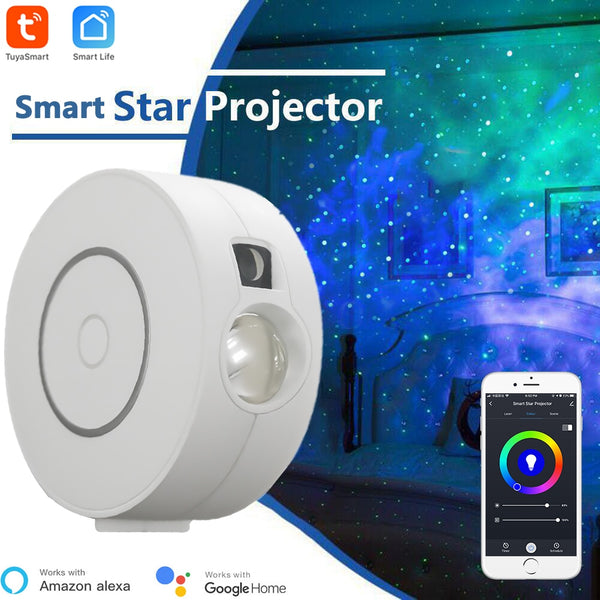 Tuya Smart Star Projector WiFi Laser Starry Sky Projector Waving Night Light Led Colorful APP Wireless Control Alexa Compatible
