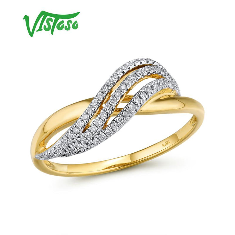 VISTOSO Gold Rings For Lady Genuine 14K 585 Yellow Gold Ring Sparkling Diamond Promise Engagement Rings Anniversary Fine Jewelry
