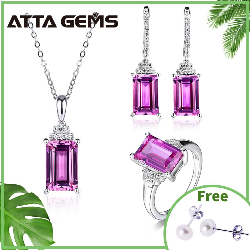 Purple Sapphire Sterling Silver Women's Fine Jewelry 12.8 Carats Created Sapphire S925 Jewelry Set Gift for Mother's Day