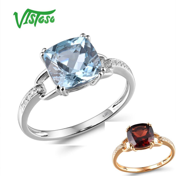 VISTOSO Pure14K 585 White Gold/Rose Gold Ring For Women Sparkling Diamond Limpid Sky Blue Topaz Anniversary Classic Fine Jewelry