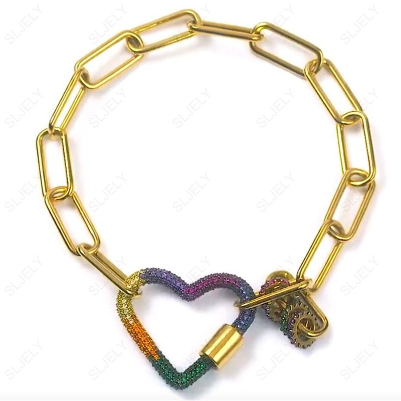 SLJELY Luxury S925 Sterling Silver Yellow Gold Color Jewelry Multicolor Cubic Zirconia Rainbow Heart Chain Bracelet for Women
