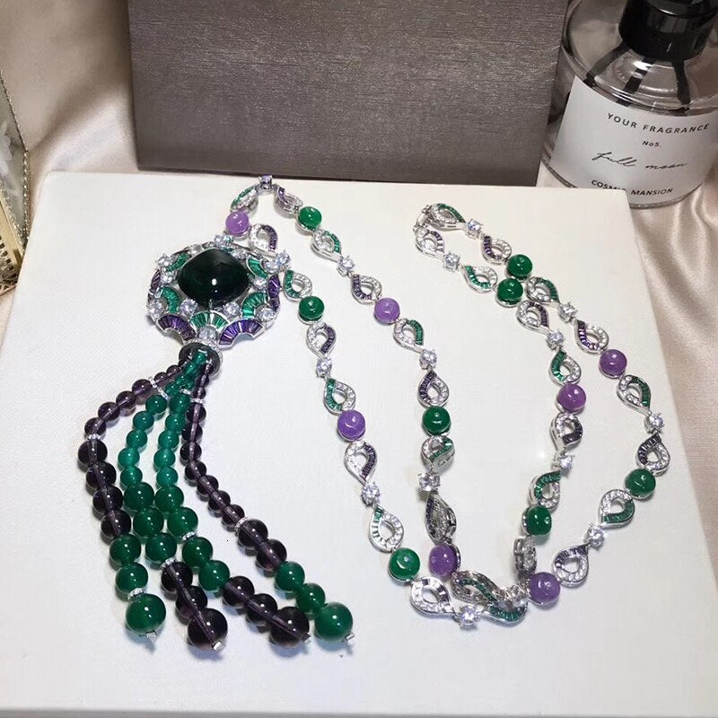 Brand Pure 925 Sterling Silver Jewelry For Women Banquet Pendant Green Crystal Necklace Tassel Bead Necklace Fine Custom Jewelry