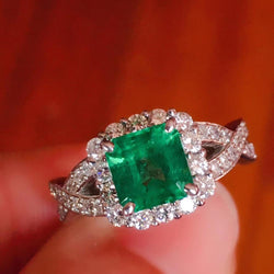 100% Natural 1.5ct Emerald Gemstone 0.58ctw Diamond Female's Wedding Rings for Women Ring Pure 18K White Gold