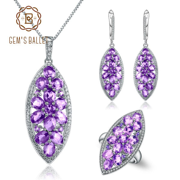 GEM'S BALLET 925 Sterling Silver Natural Amethyst Ring Earrings Pendant Sets Handmade Petal Floral Jewelry Set For Women Wedding