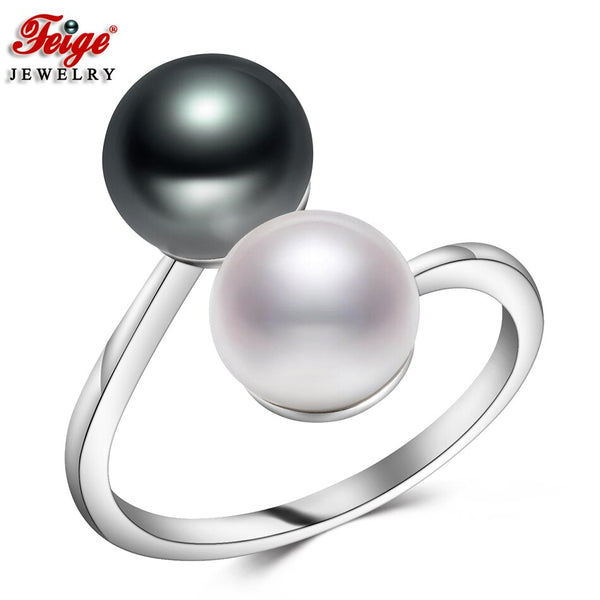 Natural Pearl Ring for Women Bijoux Party Gifts Two Colors 8-9MM Freshwater Cultured Pearl Ring Fine Jewelry Dropshipping