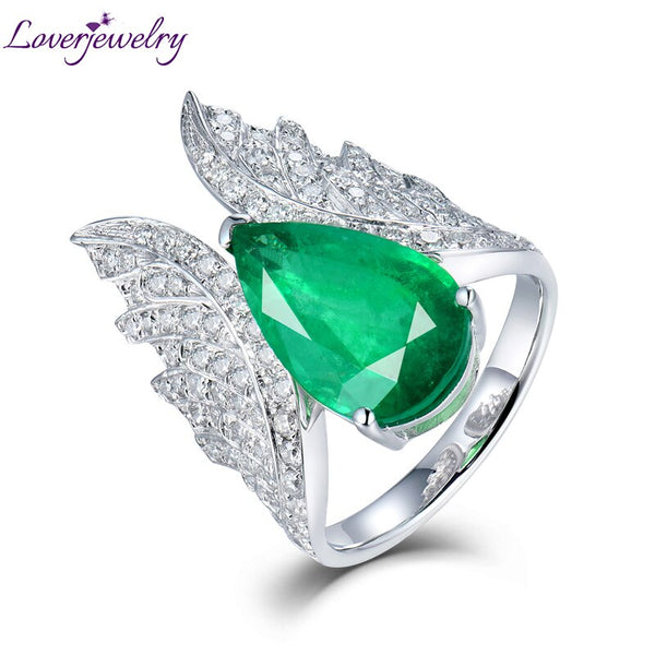 Angel Wings Rings Women 18Kt White Gold Natural Heart Cut Emerald Stones Genuine Diamonds Engagement Ring For Yound Lady Jewelry