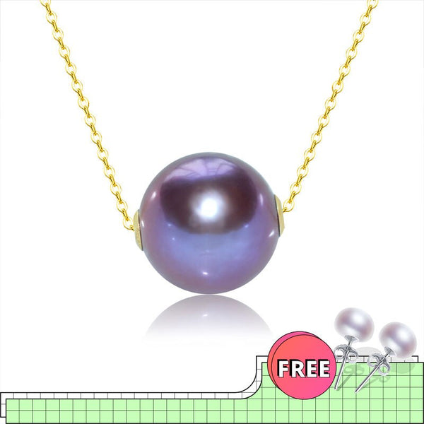 NYMPH genuine high quality round purple Edison Pearl necklace&pendant with real 18 k gold,2019 new style[D319]