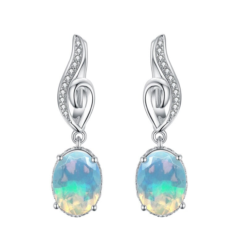 Good quality 925 sterling silver Natural 2.5ct Opal Clasp earring oval cut Ethiopia Opal Jewelry tbj promotion