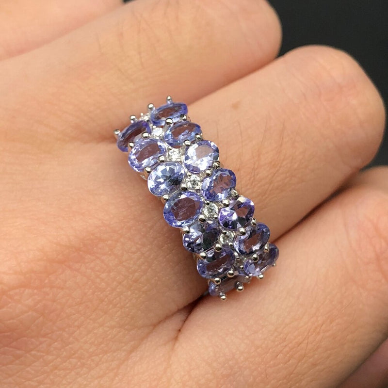 Natural tanzanite gemstone Ring only 925 sterling silver ring and clasp earrings fine jewelry for girl black Friday,Christmas