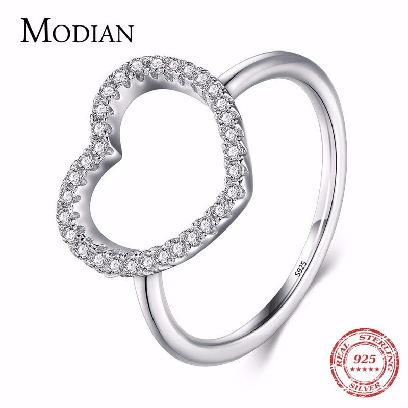 2019 New Design Fashion Solid 925 Sterling Silver Heart Shape Classic Love Ring 5A Zircon Finger Rings For Women Engagement Jewe