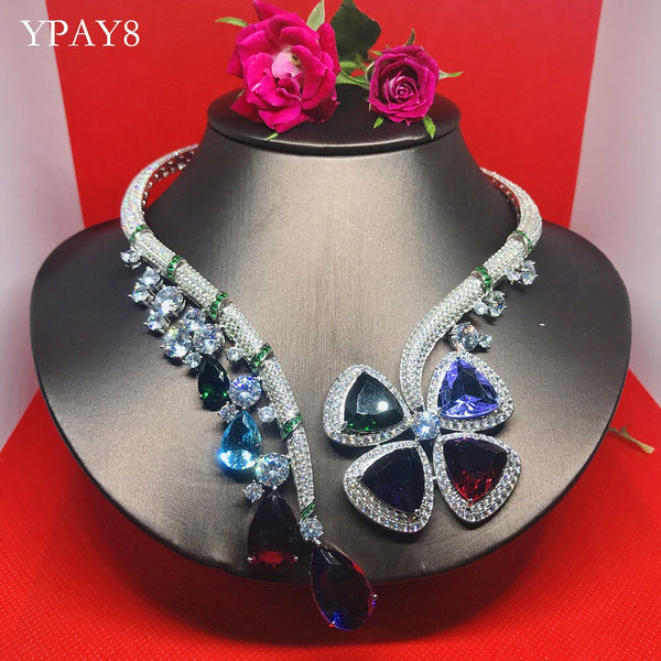 YPAY8 Fashion S925 sterling silver Ladies Hot Brand Colorful Zircon Top Quality For Women Shape Party Details Necklace Jewelry