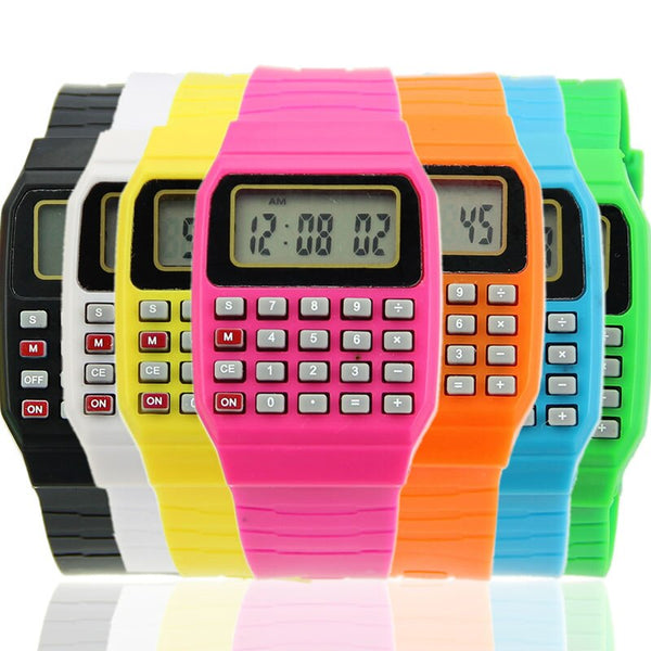 New Fad Children Silicone Date Multi-Purpose Kids Electronic Calculator Wrist Watch