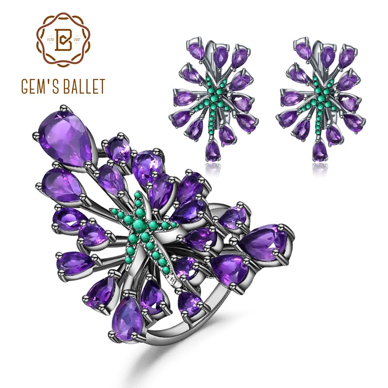 GEM'S BALLET 925 Sterling Silver Gemstone Earrings Ring Set Natural Amethyst Vintage Gothic Punk Jewelry Set For Women Jewelry