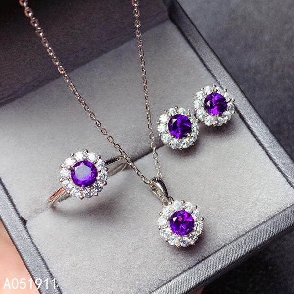 KJJEAXCMY fine jewelry Amethyst 925 sterling silver women pendant necklace chain earrings ring set luxury