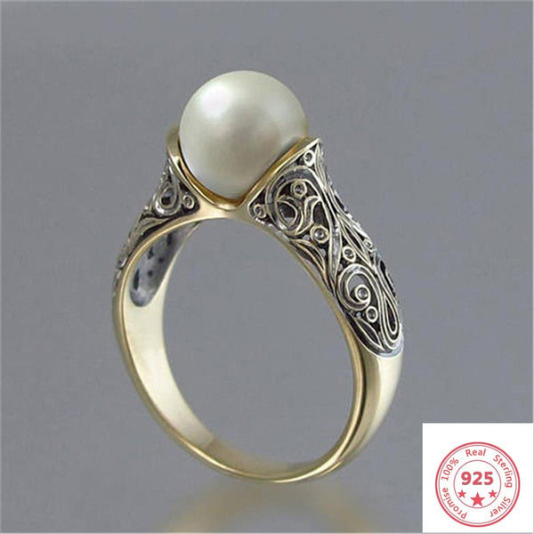 14K Gold White Pearl Ring for Women Bizuteria Bijoux Femme Pearl Gemstone Joyas Jewellery Anillos Mujer Rose Gold Rings Females
