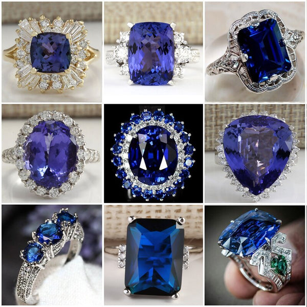 Fashion Big Blue Stone Ring Charm Jewelry Women CZ Wedding Rings Promise Engagement Ring Ladies Accessories Gifts Z4K146