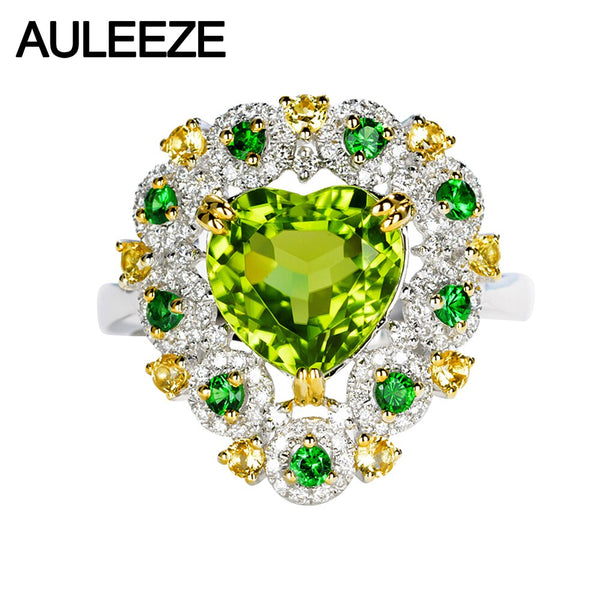 AULEEZE Real 18K White Gold Green Peridot Diamond Ring Luxury Natural Gemstone Party Ring Fine Jewelry