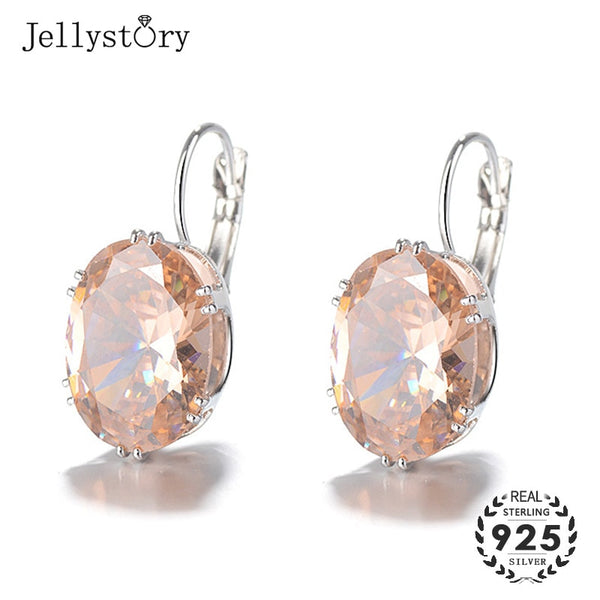 Jellystory Silver 925 Earrings Jewelry with Multicolor Oval Shape Sapphire Drop Earrings for Women Wedding Party Gifts Wholesale