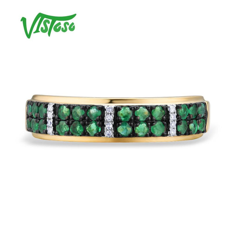 VISTOSO Gold Rings For Women Genuine 14K 585 Yellow Gold Ring Sparkling Diamond Luminous Emerald Engagement Rings Fine Jewelry
